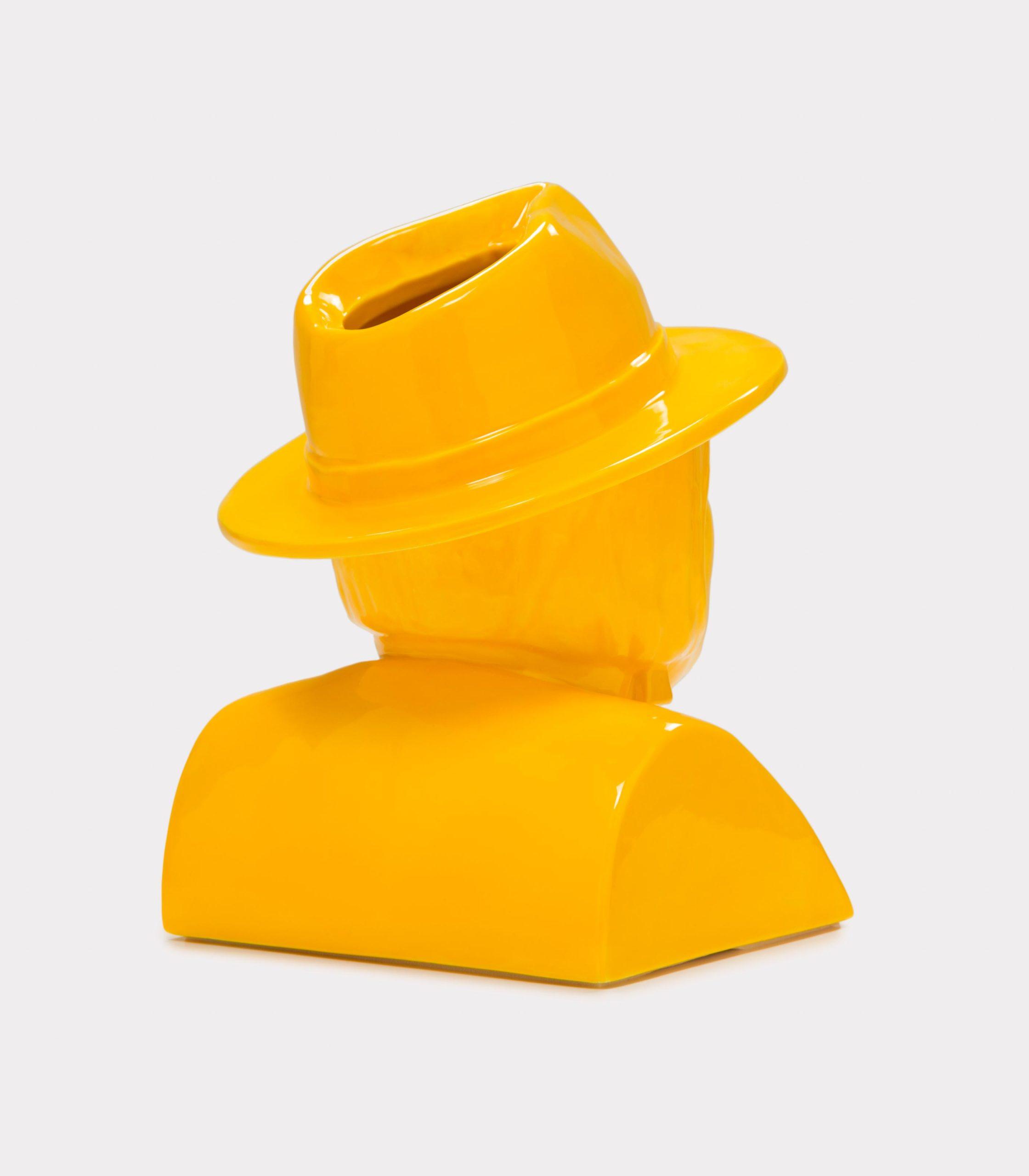 "Jimmy D Lanza's ""La Luisa"", solid yellow handmade flowerpot loopo milano design R"