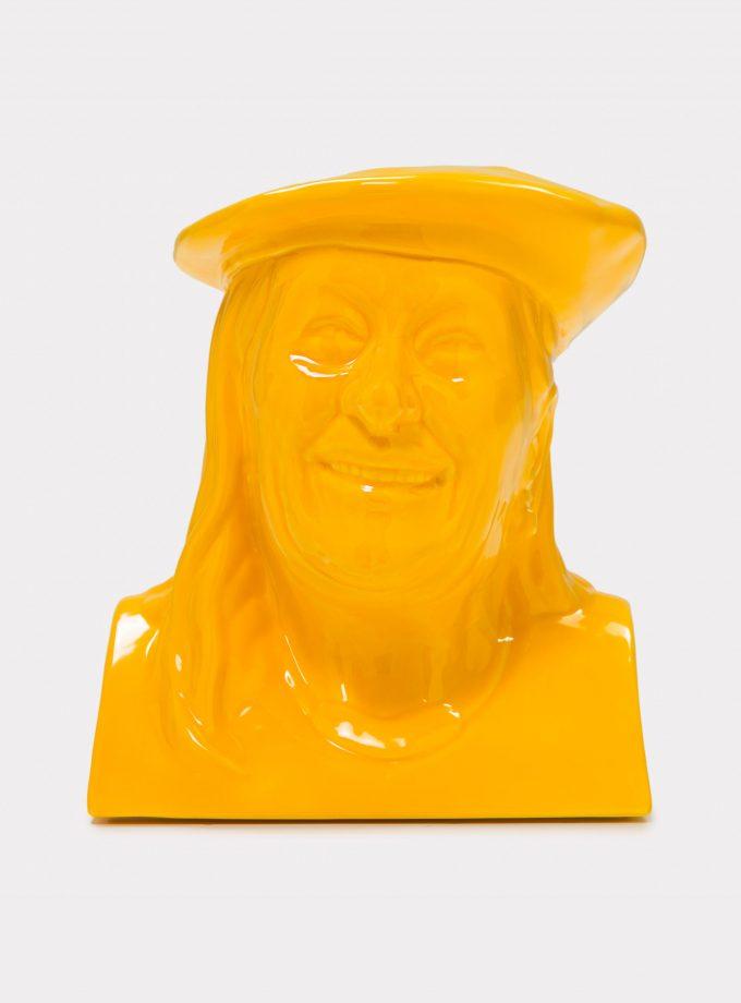 "Jimmy D Lanza's ""La Vilma"", solid yellow handmade flowerpot loopo milano design F"