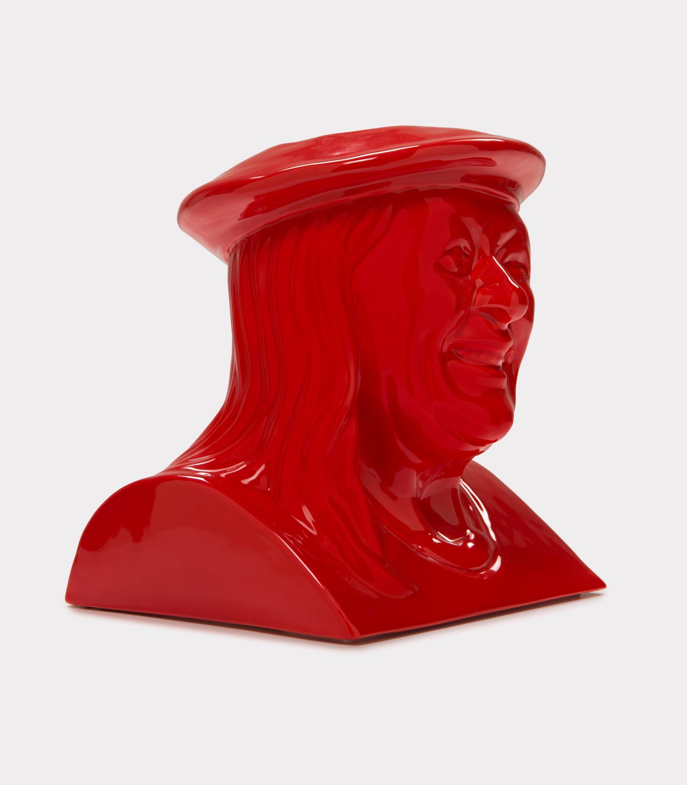 "Jimmy D Lanza's ""La Vilma"", solid red handmade flowerpot loopo milano design FD"