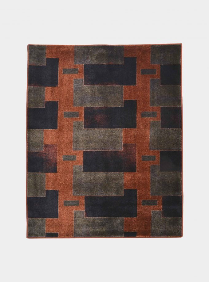 """Abstract"" orange rug in printed fabric loopo milano design F"