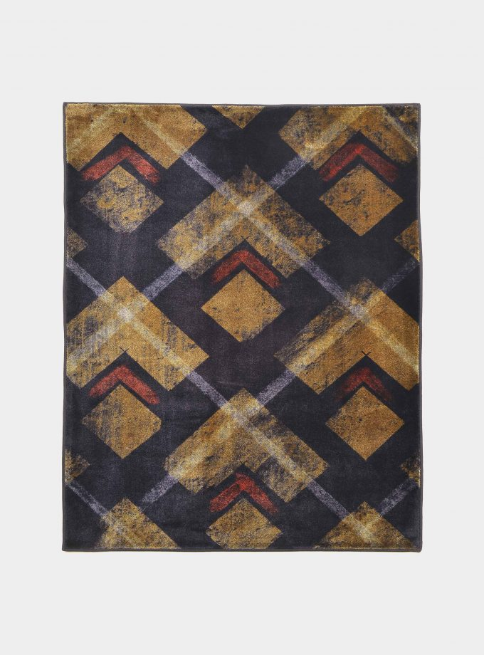 """Abstract"" blue rug in printed fabric loopo milano design F"