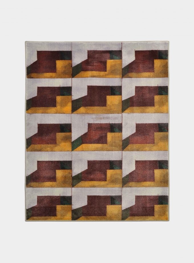 """Abstract"" yellow rug in printed fabric loopo milano design F"