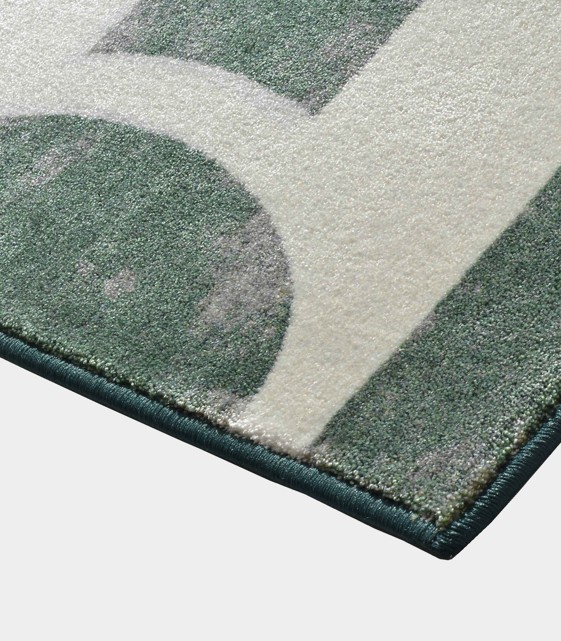 """Abstract"" green rug in printed fabric loopo milano design C"