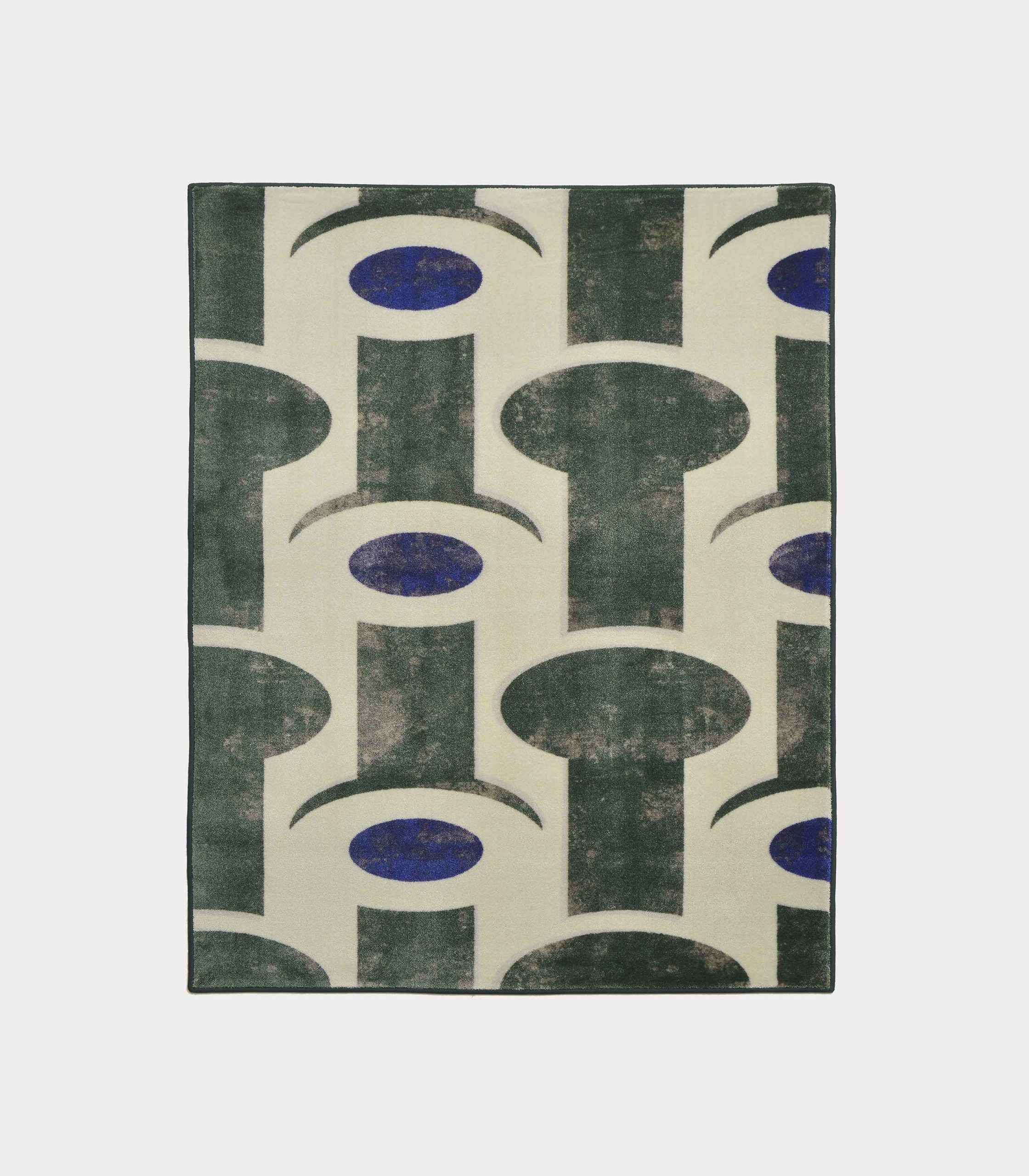 """Abstract"" green rug in printed fabric loopo milano design F"