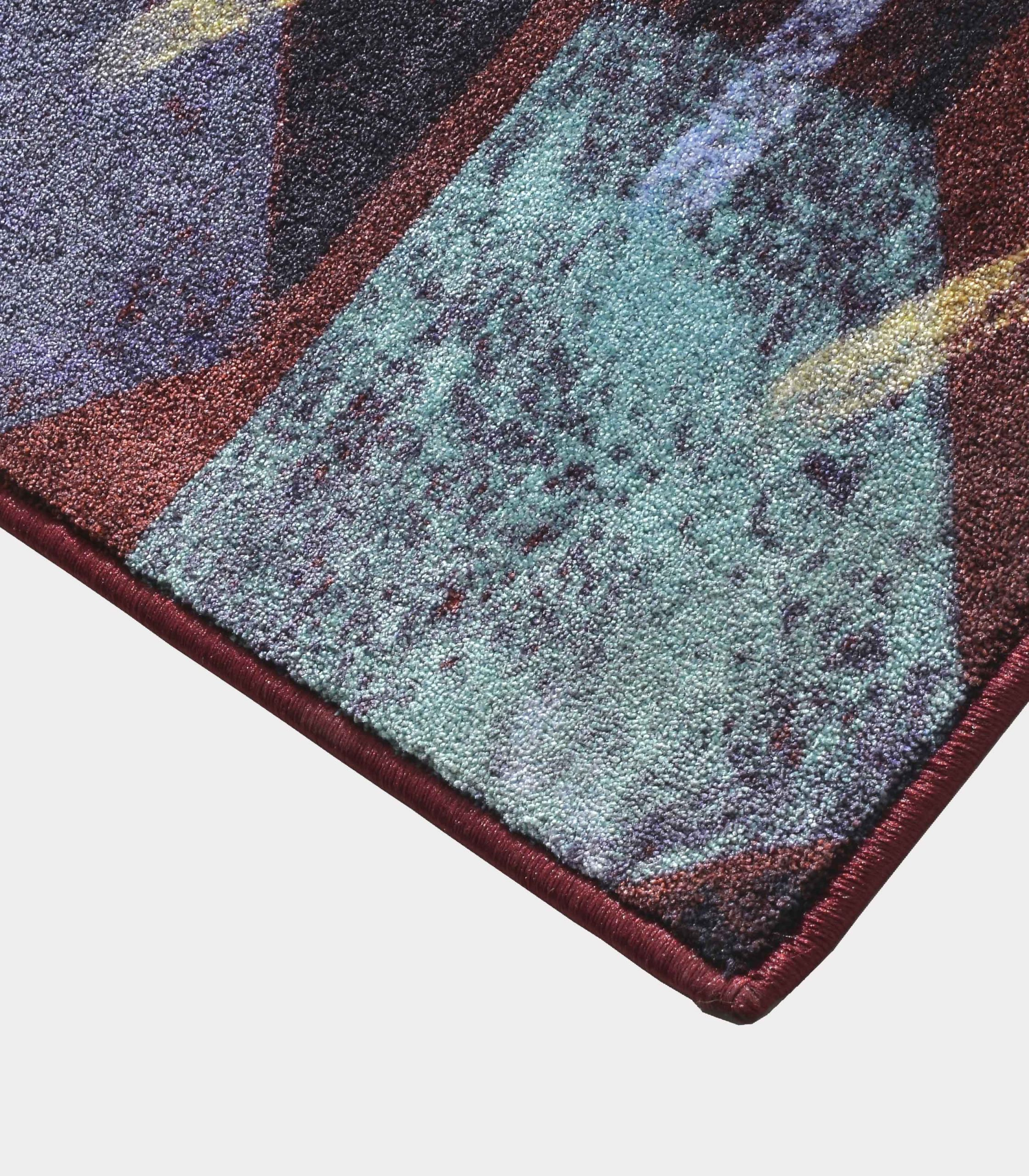 """Abstract"" purple rug in printed fabric loopo milano design C"
