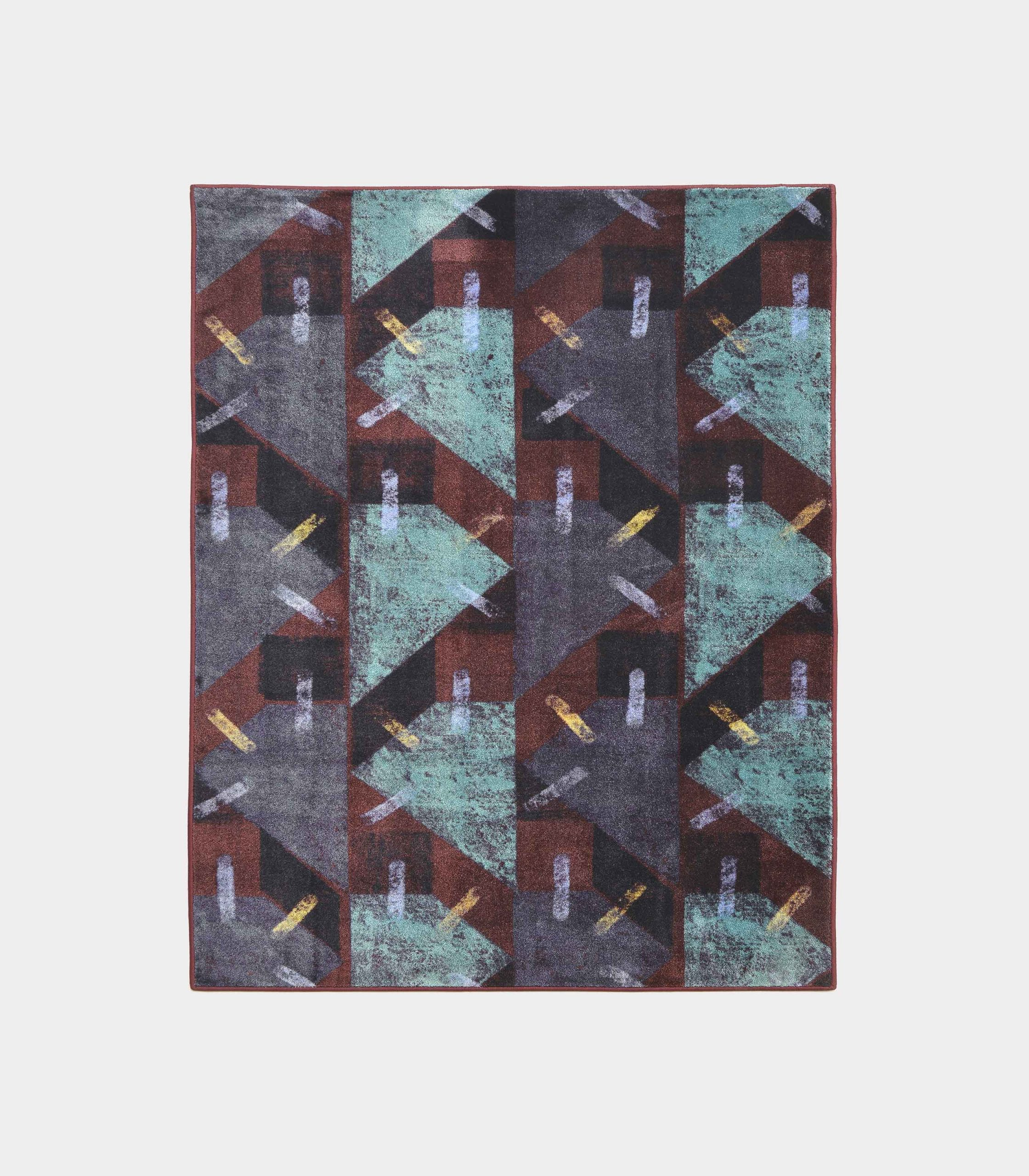 """Abstract"" purple rug in printed fabric loopo milano design F"