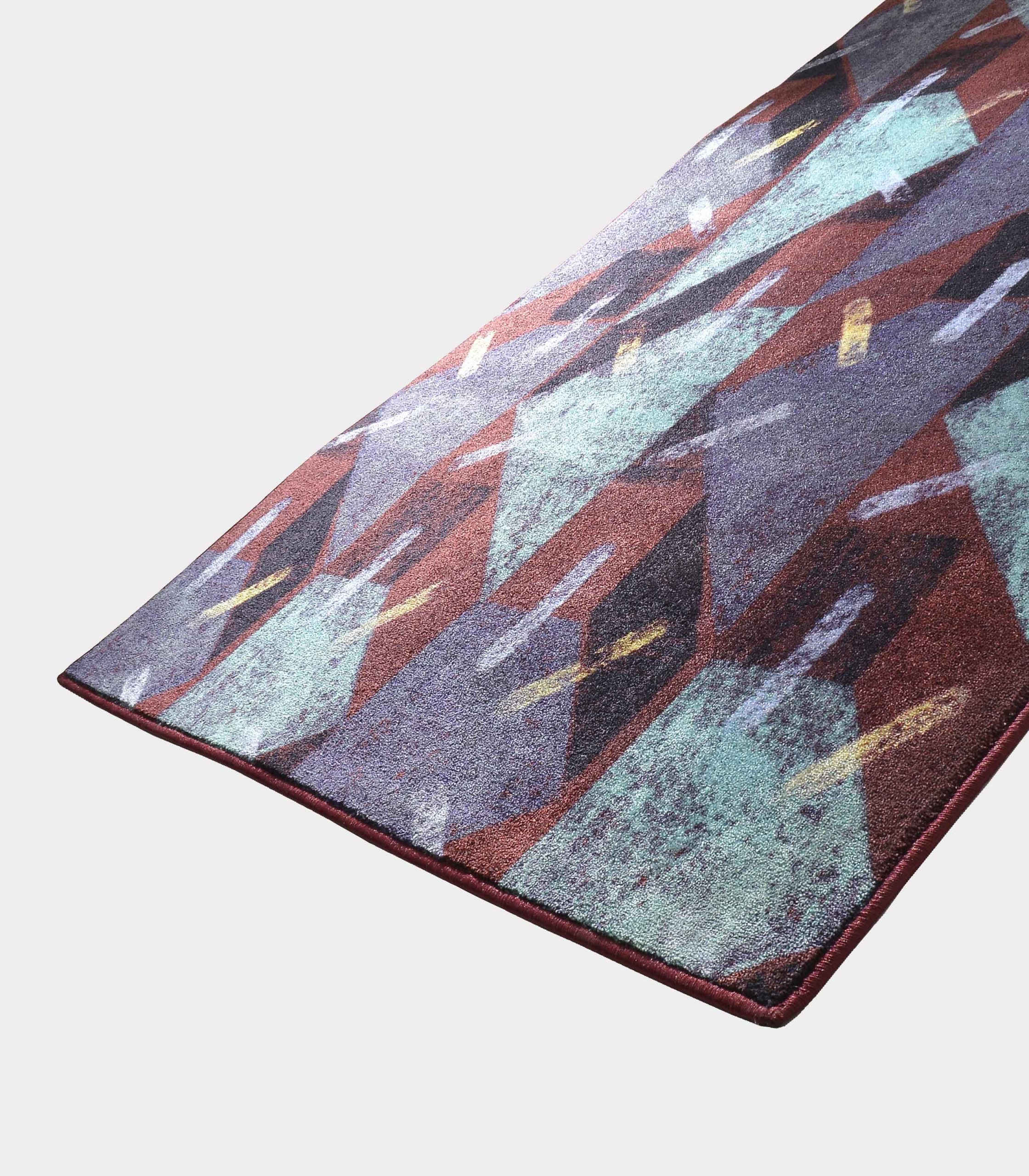"""Abstract"" purple rug in printed fabric loopo milano design FD"
