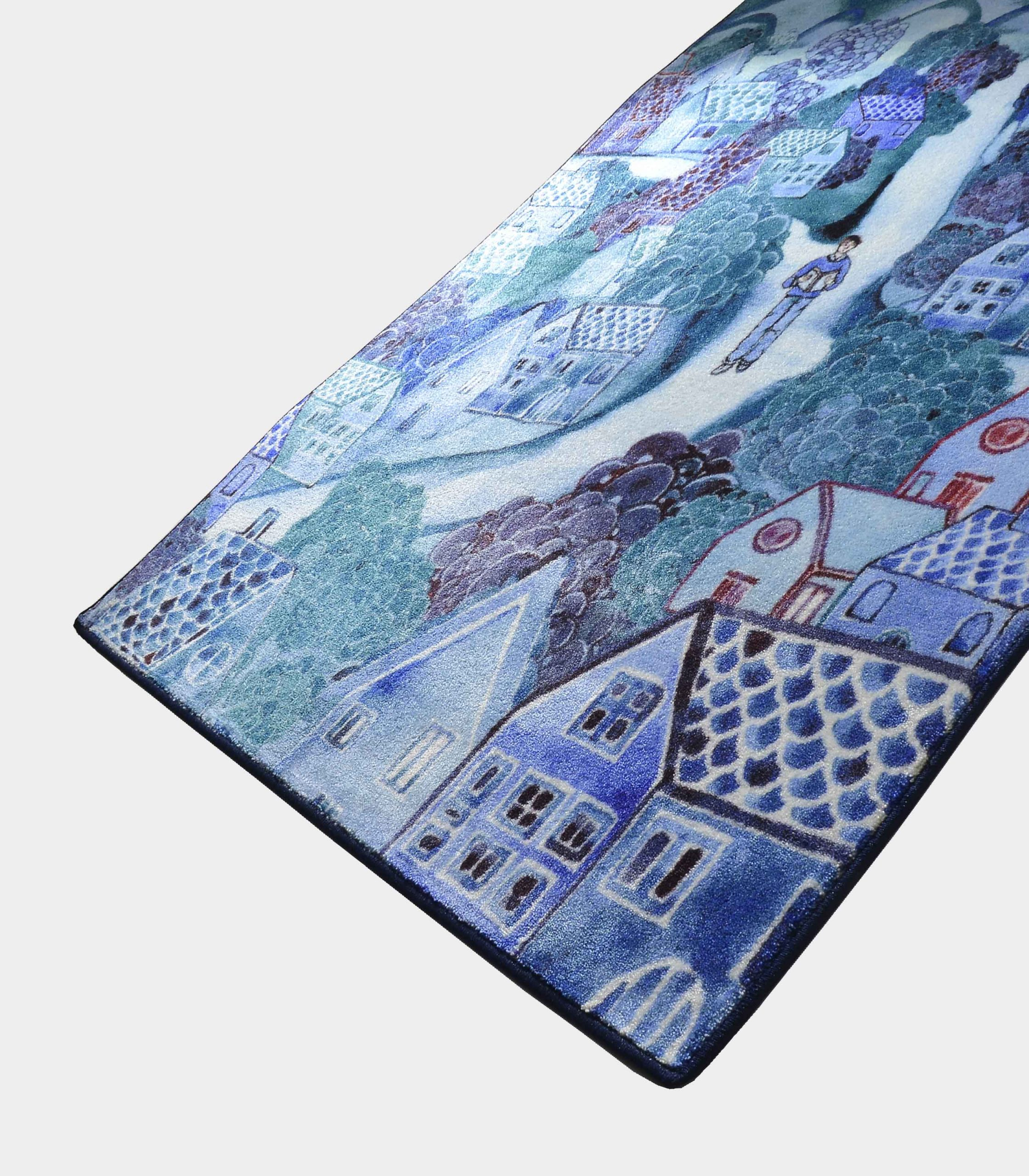 """Blue """"Notturno"""" fabric rug with printed designs loopo milano design FD"""