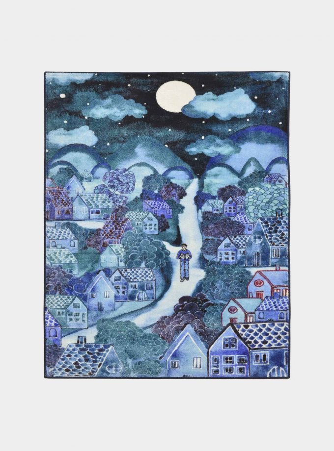 "Blue ""Notturno"" fabric rug with printed designs loopo milano design F"