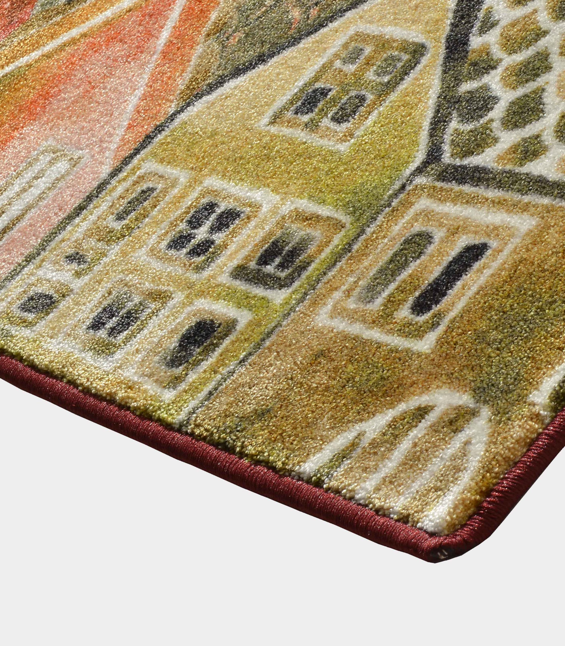 red notturno fabric rug with printed designs loopo milano design C