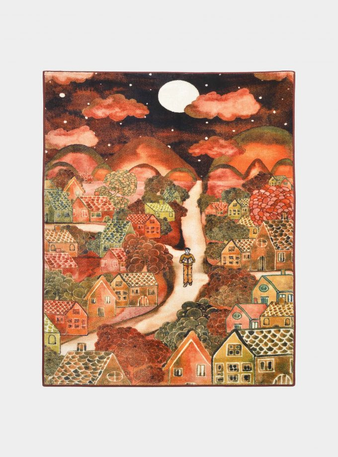 red notturno fabric rug with printed designs loopo milano design F
