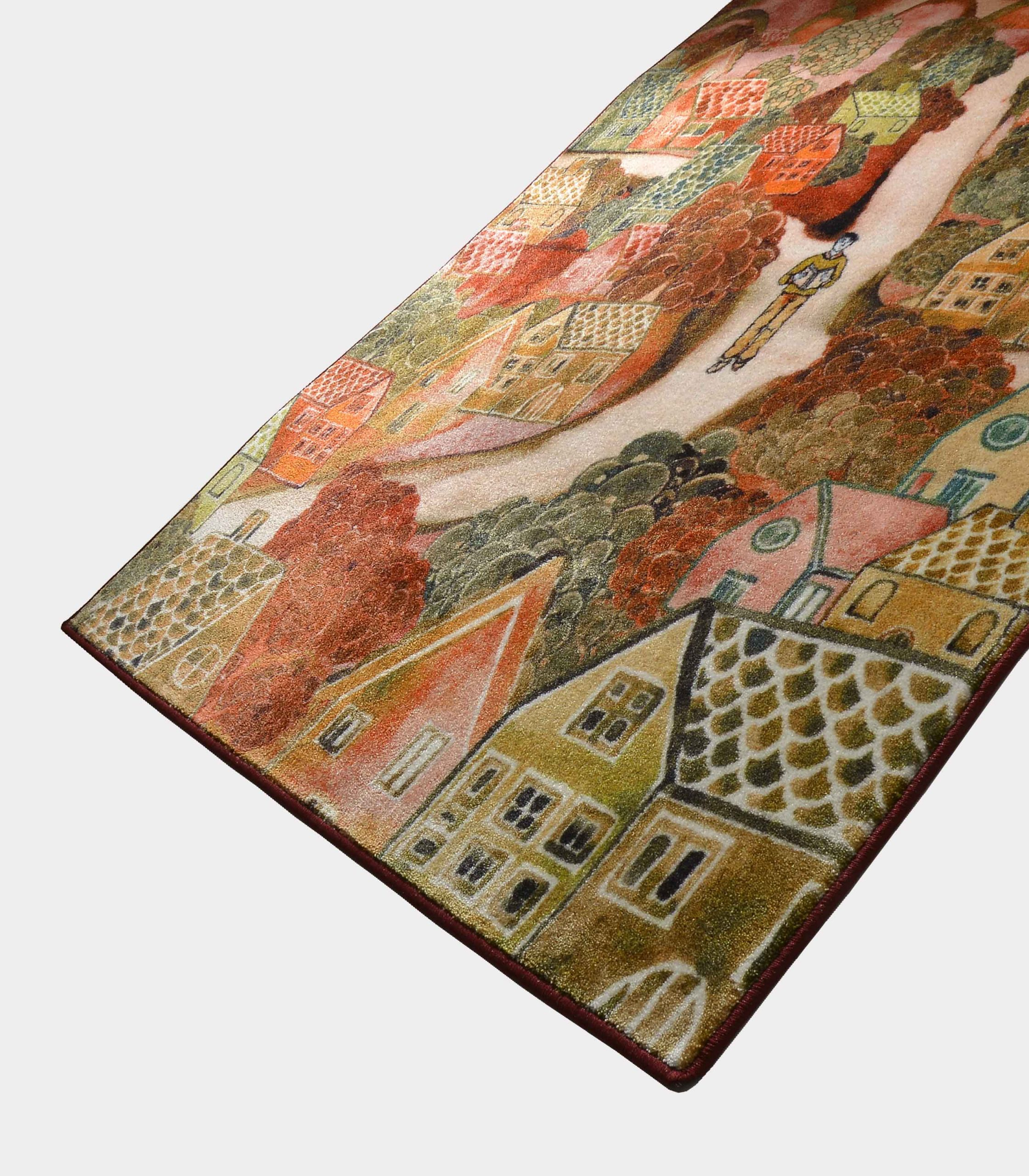 red notturno fabric rug with printed designs loopo milano design FD