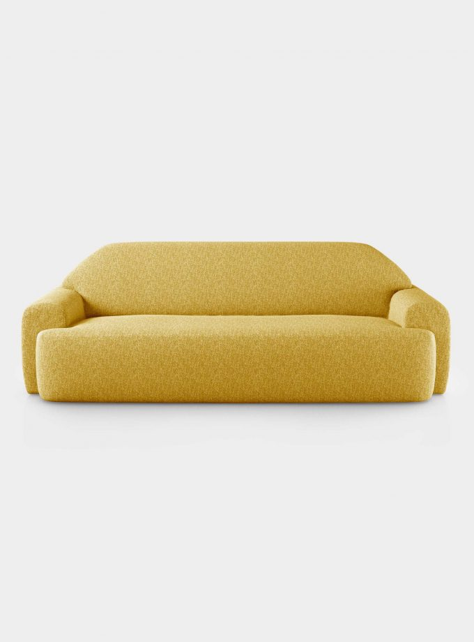 """Minimal"" three seater yellow velvet sofa loopo milan design F"