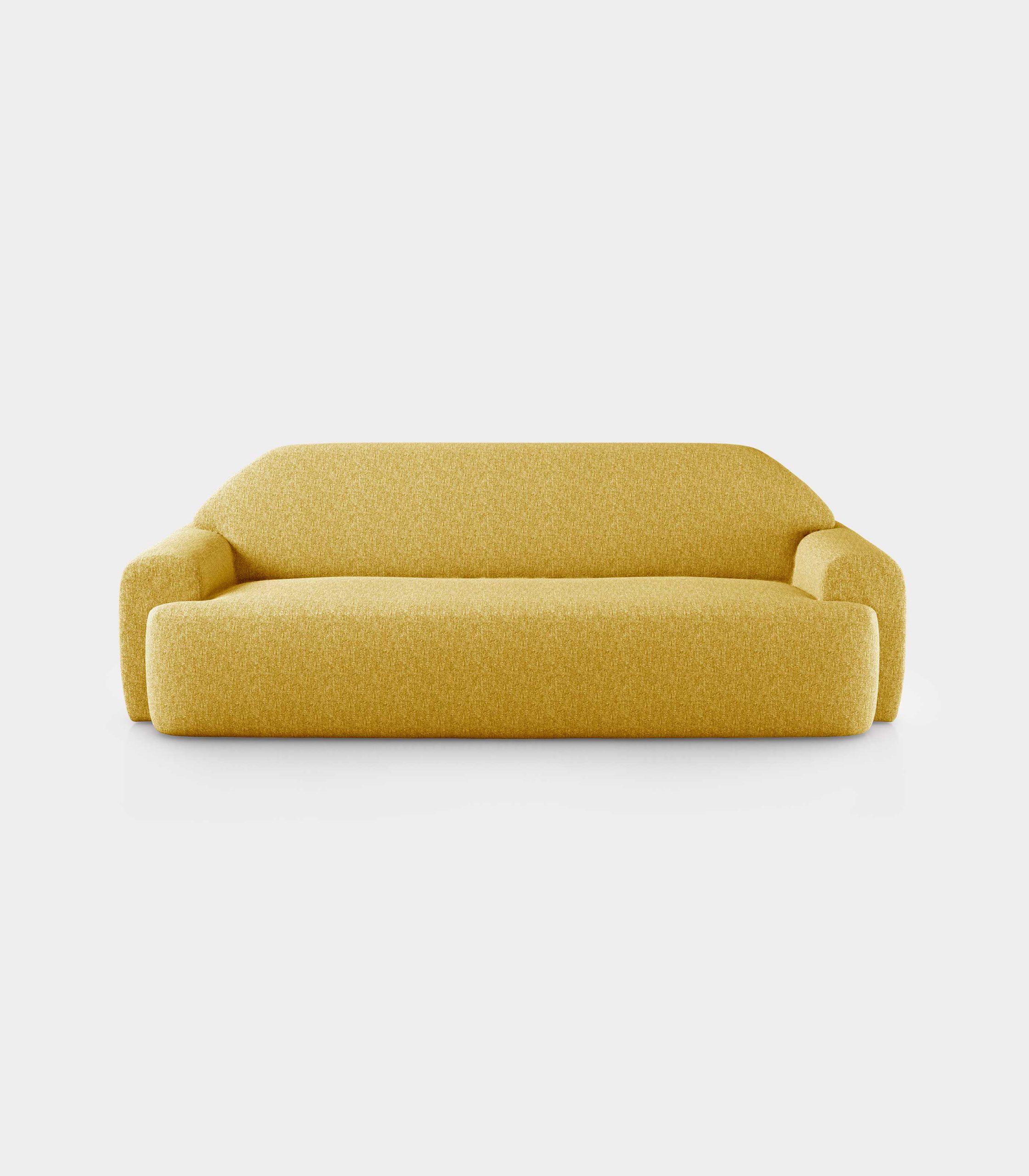 """Minimal"" three seater yellow bouclé sofa loopo milan design F"