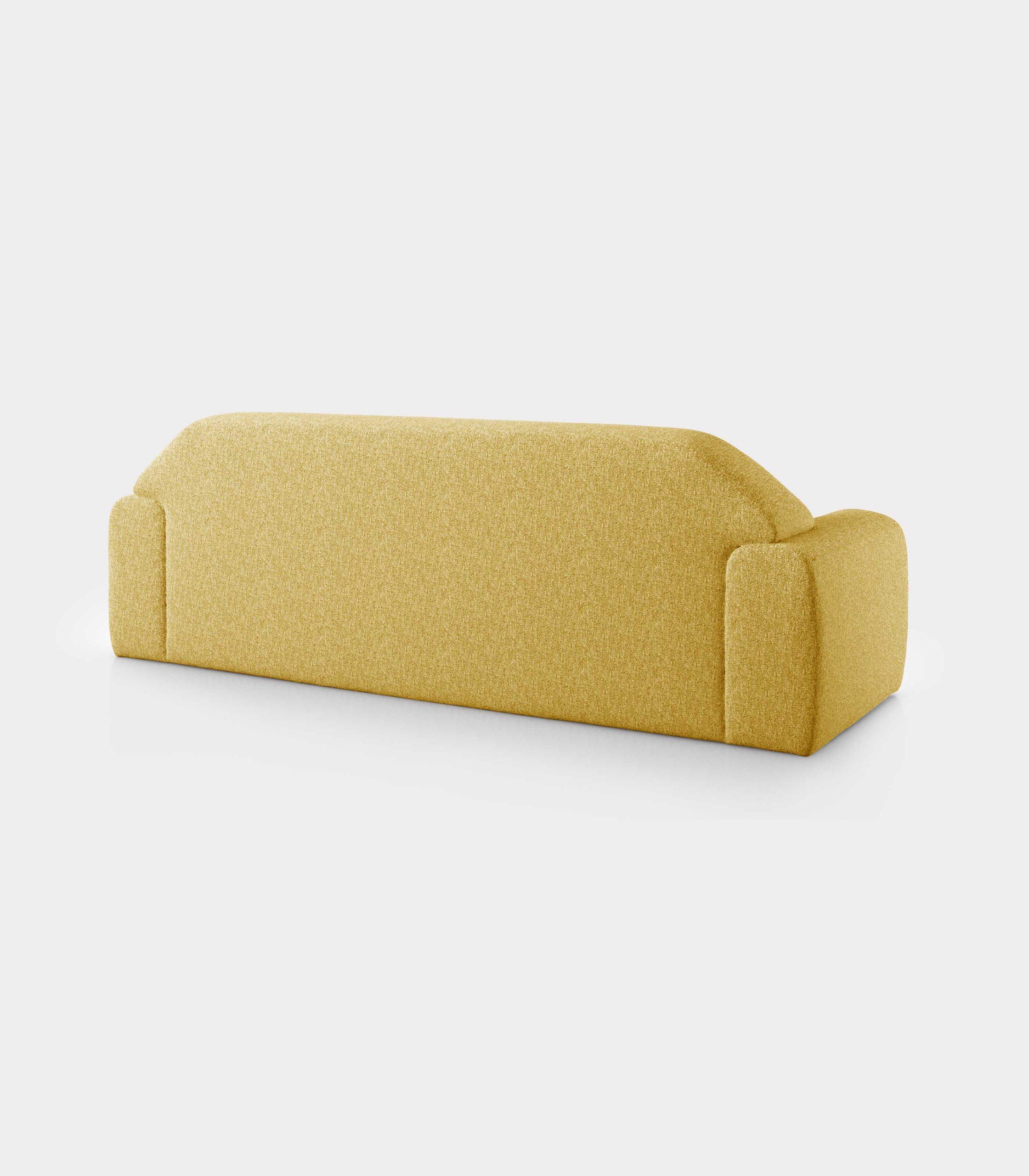 """Minimal"" three seater yellow bouclé sofa loopo milan design R"
