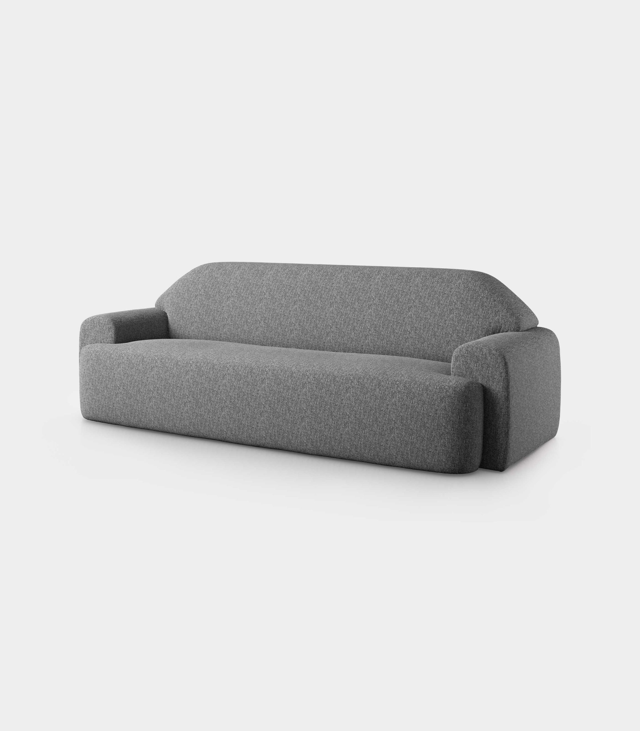 """Minimal"" three seater grey velvet sofa loopo milan design F"