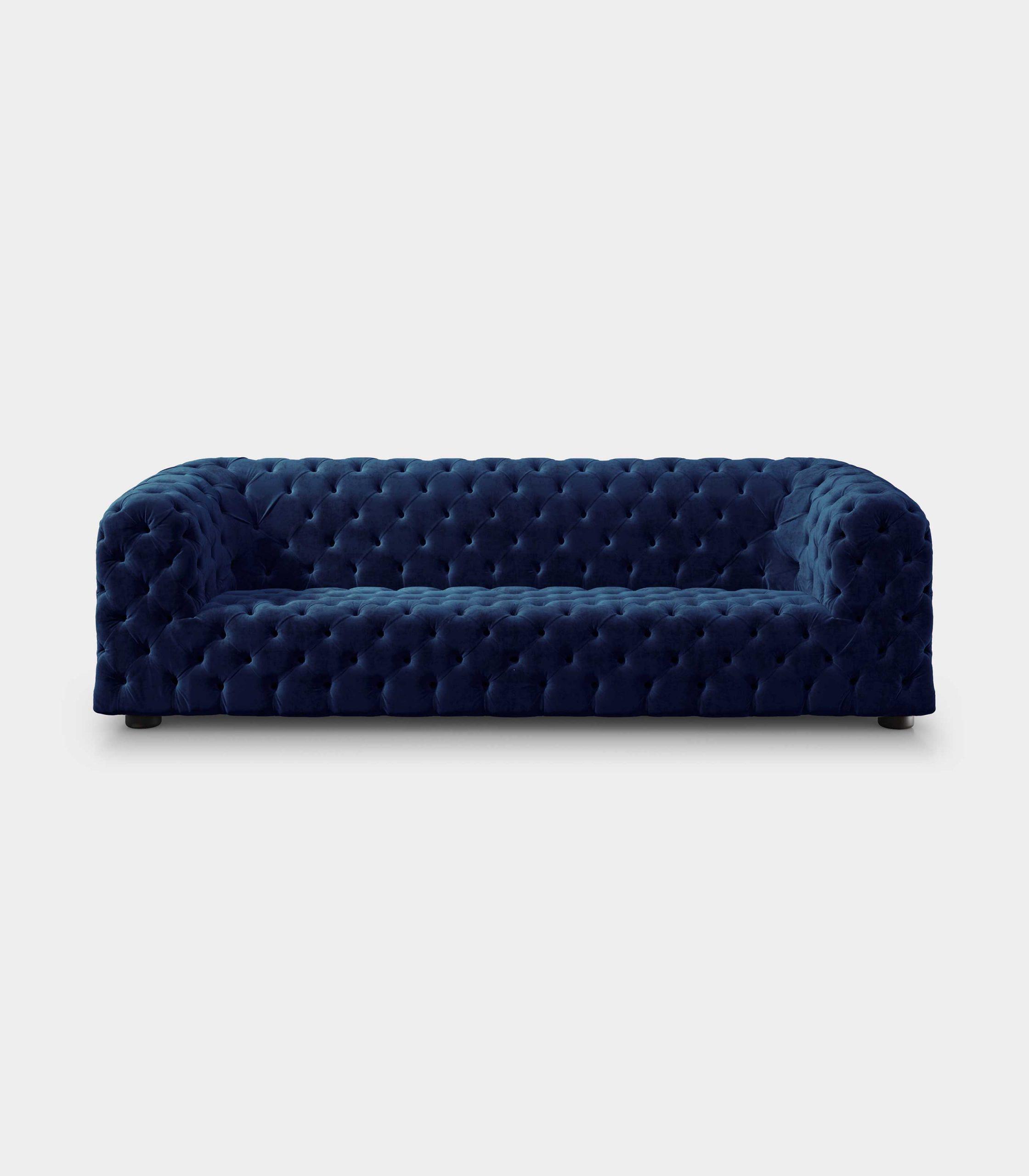 Capitonné blue velvet sofa loopo milan design F