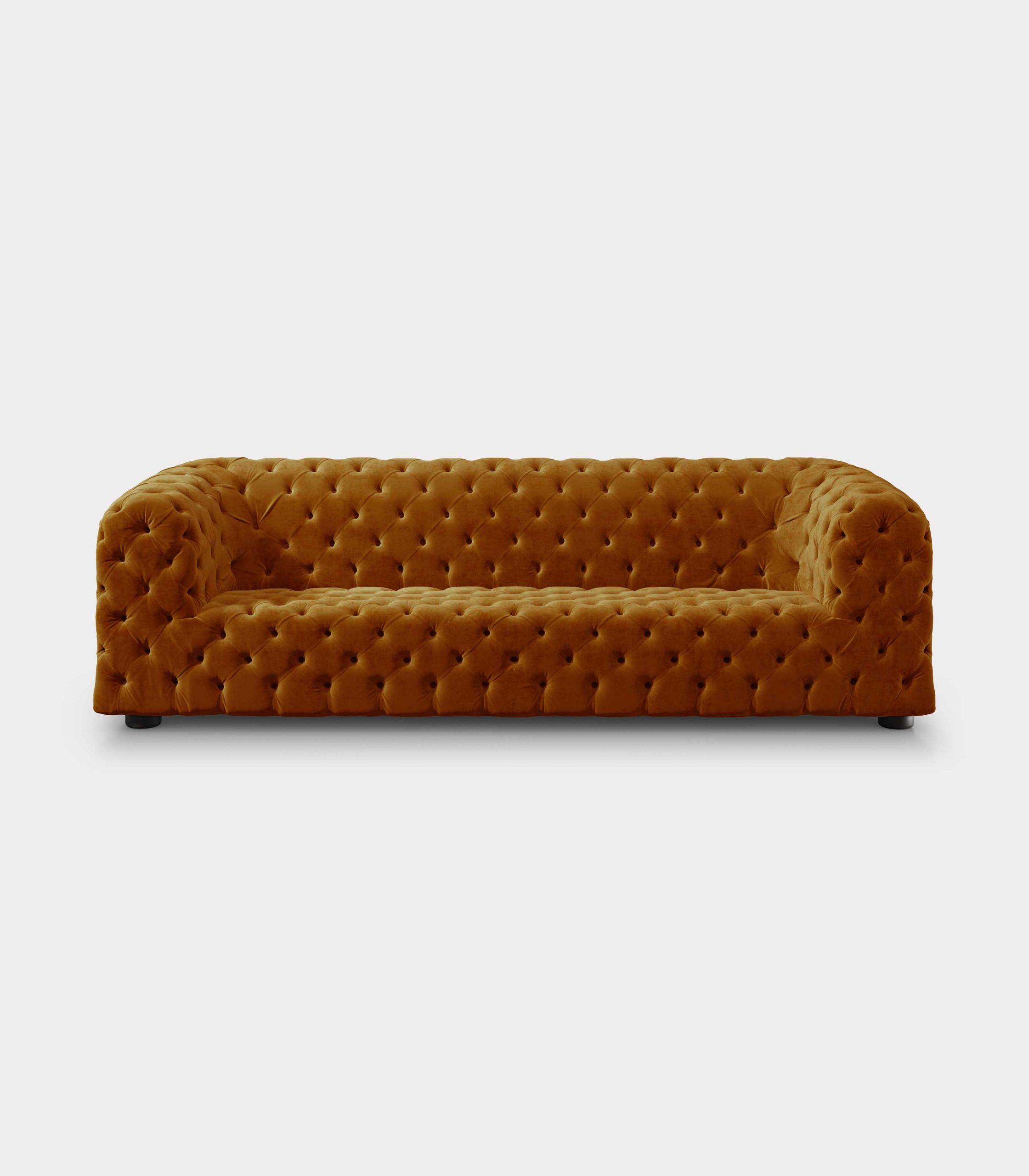 Capitonné mustard velvet sofa loopo milan design F