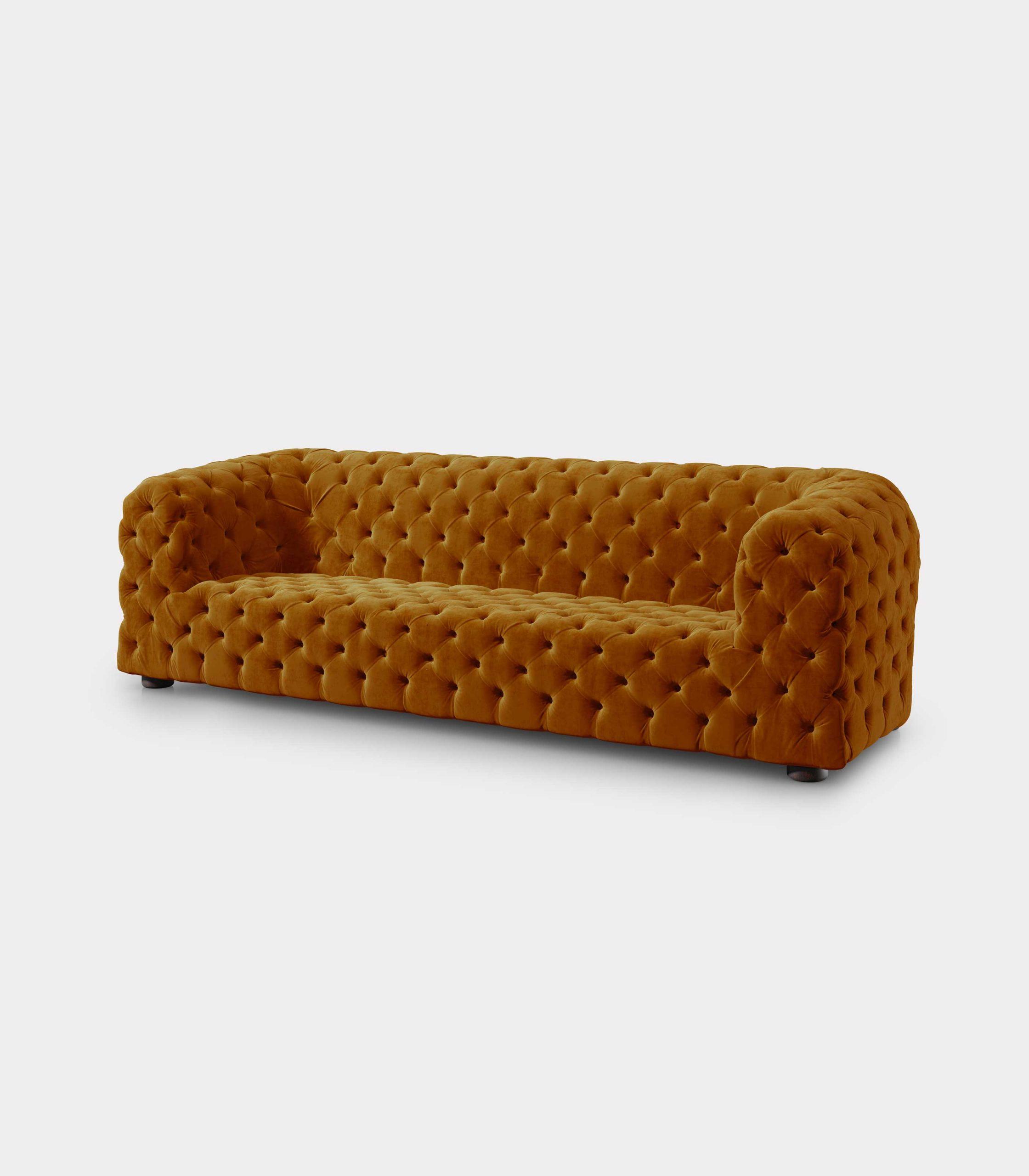 Capitonné mustard velvet sofa loopo milan design FD