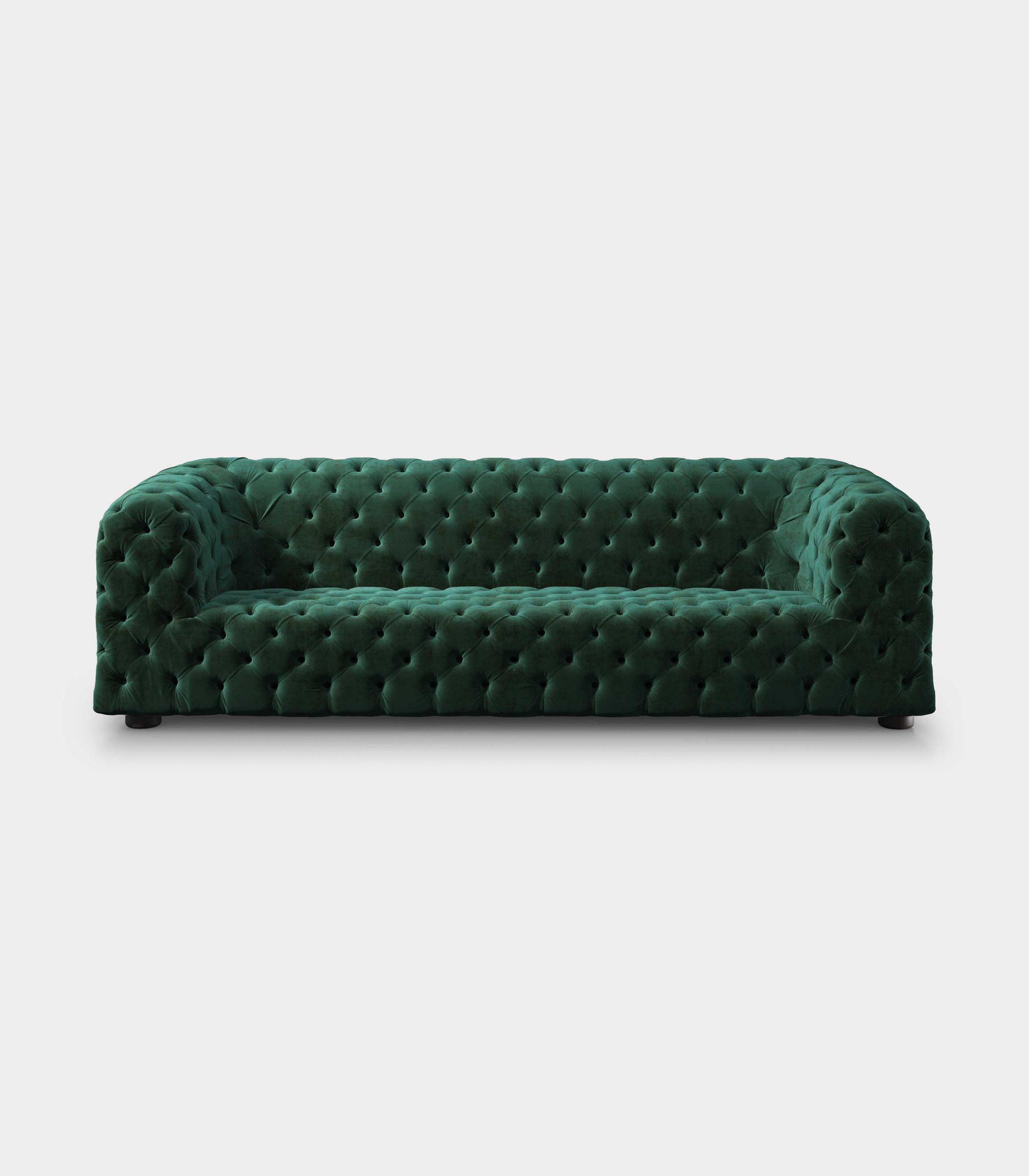 Capitonné green velvet sofa loopo milan design F