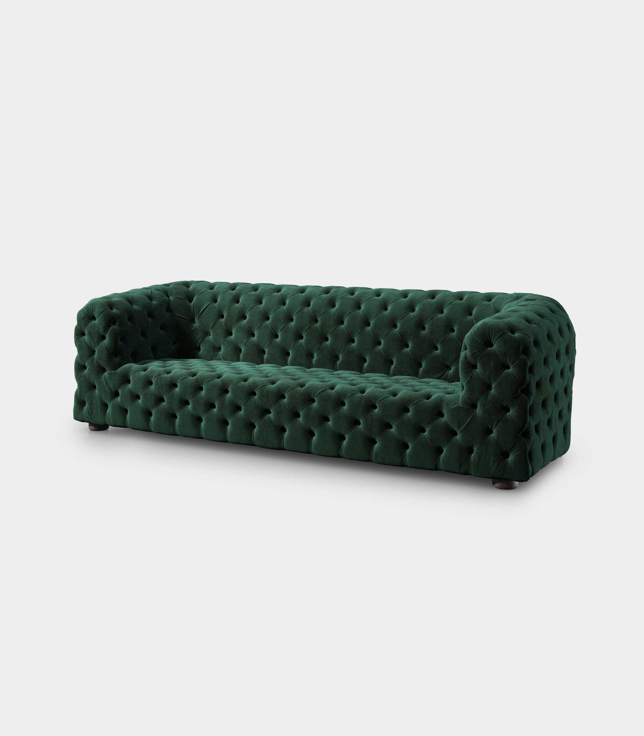 Capitonné green velvet sofa loopo milan design FD