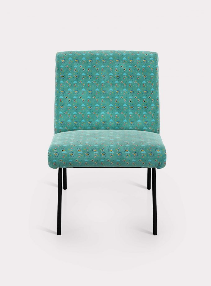 "Armchair with ""Acrobats and Clouds"" pattern loopo milano design F"