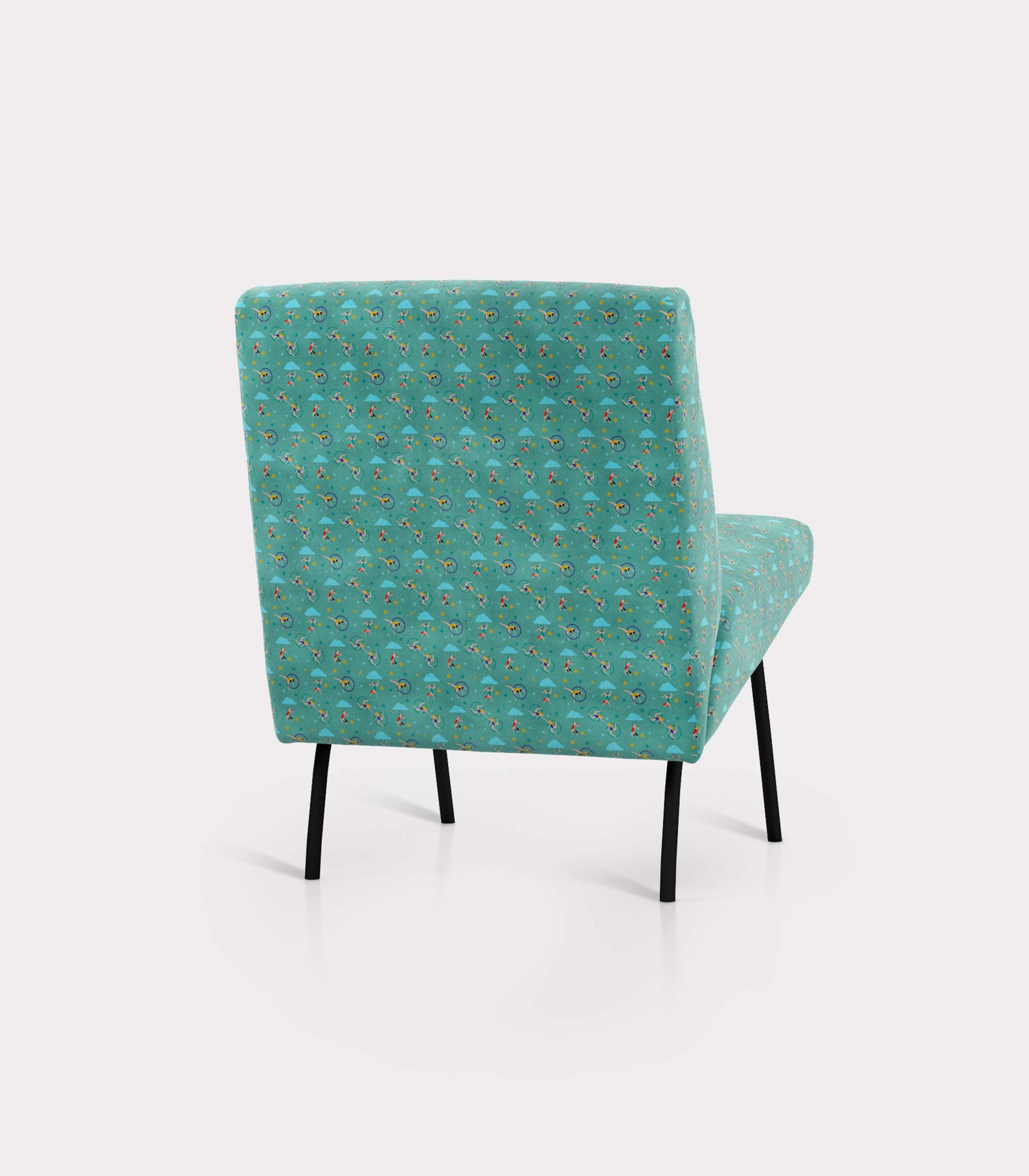 "Armchair with ""Acrobats and Clouds"" pattern loopo milano design R"