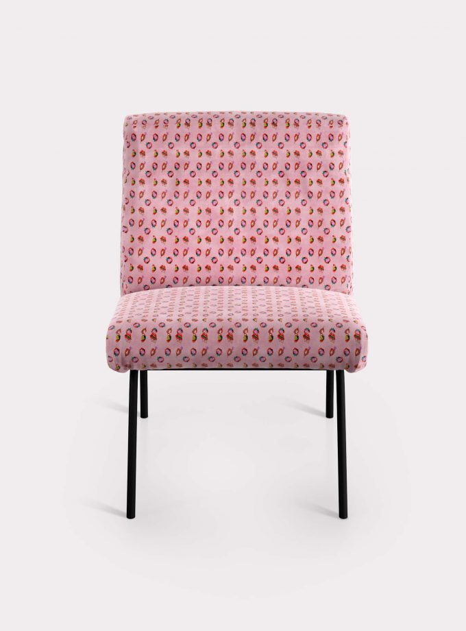 "Armchair with ""Mouths and flowers"" pattern loopo milan design F"