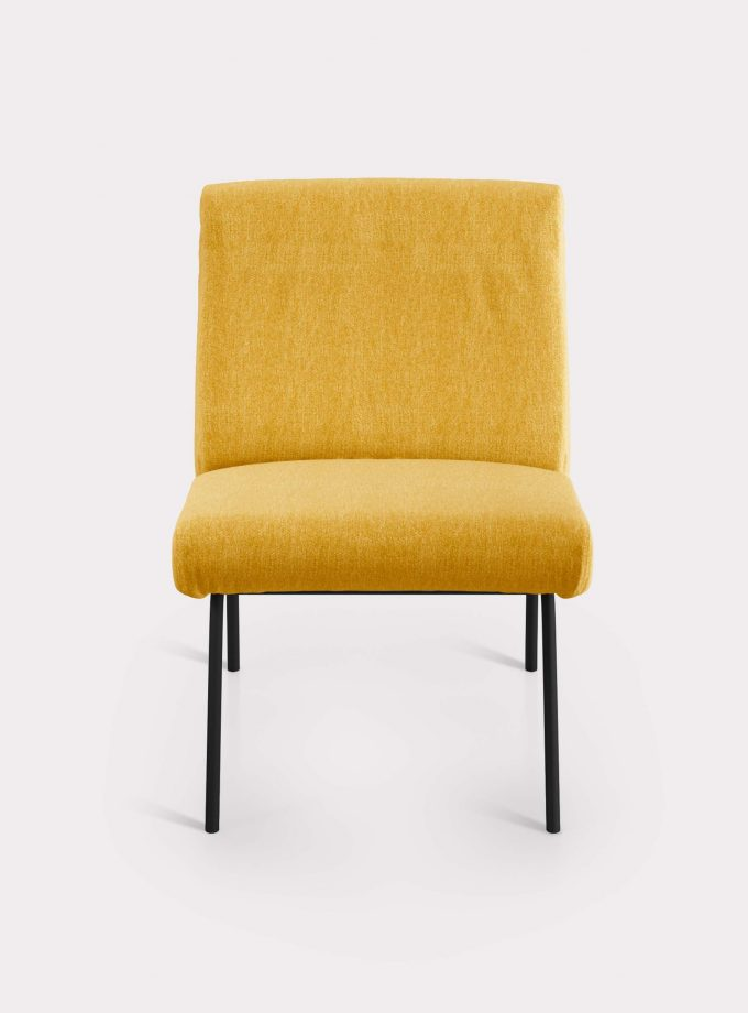 Yellow armchair in bouclé fabric milano design F
