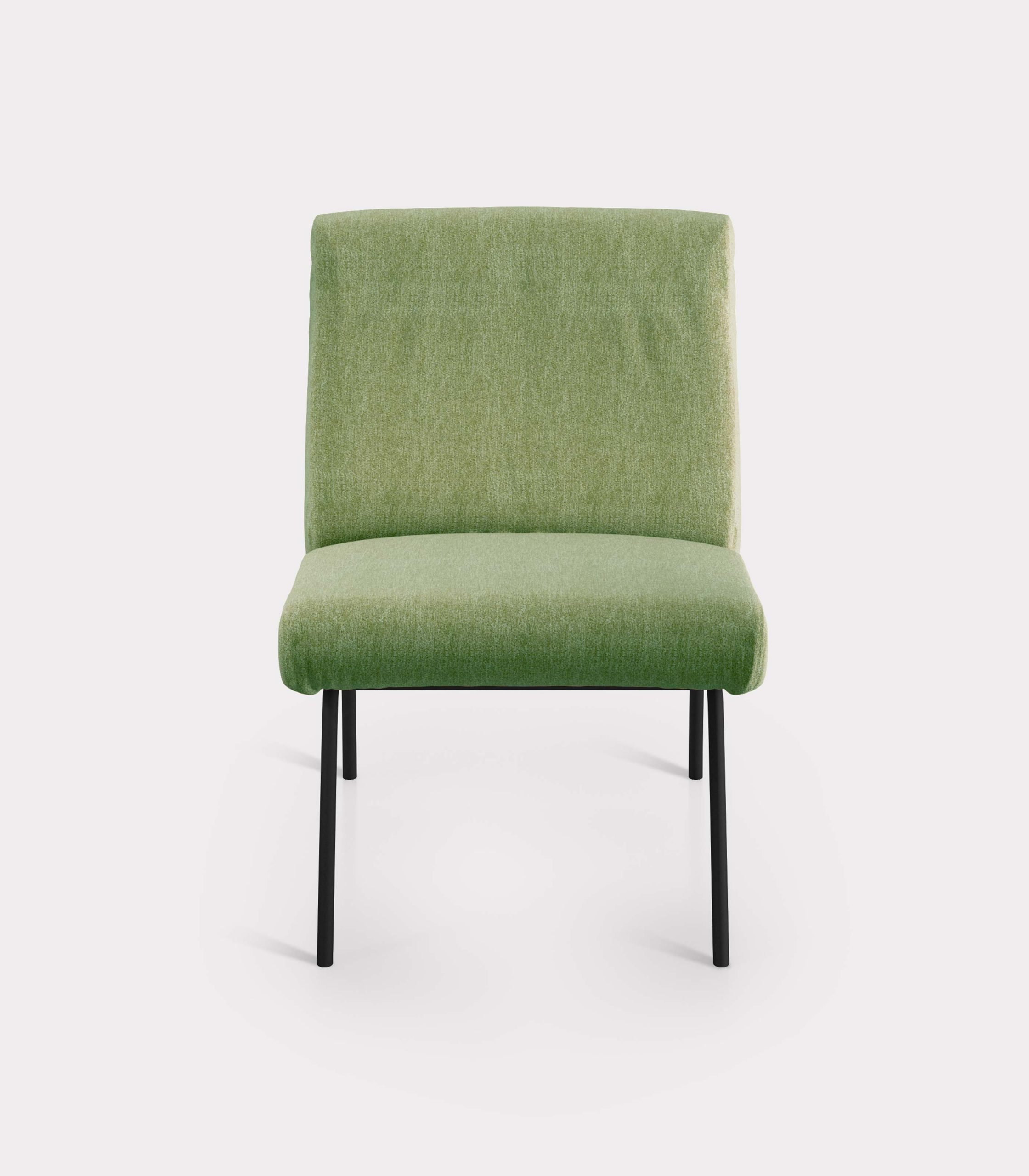 Olive green armchair in bouclé fabric milano design F