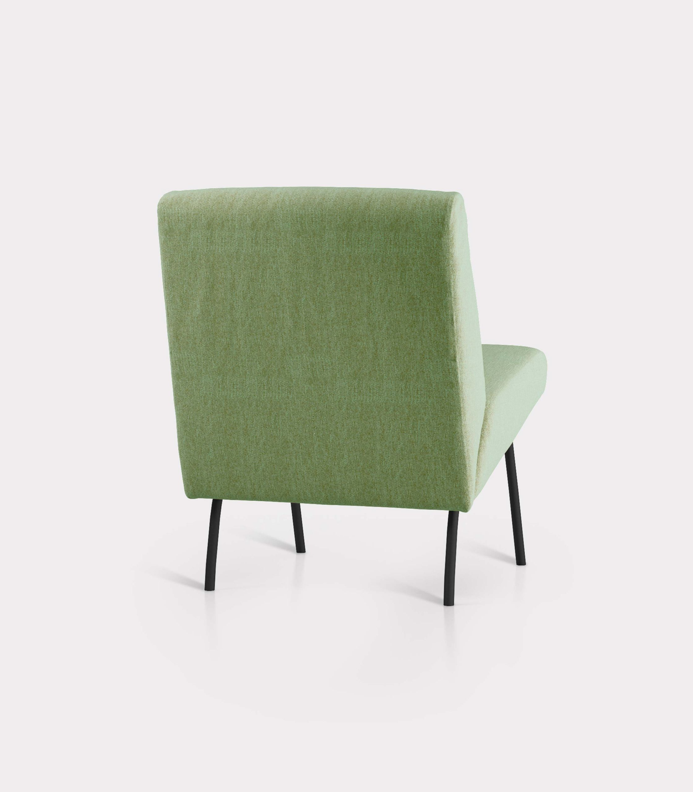 Olive green armchair in bouclé fabric milano design R