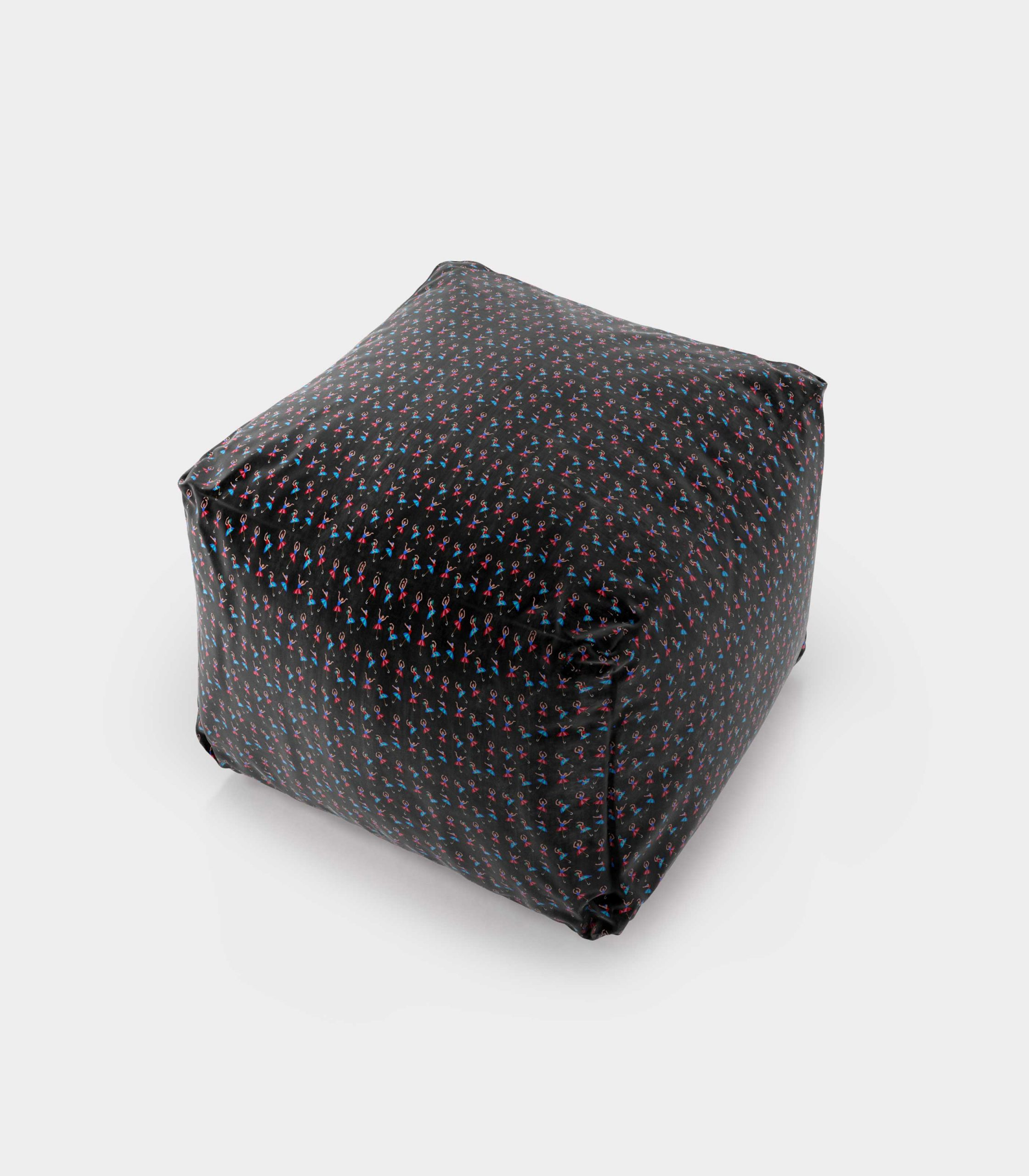 """Polystyrene Pouf with """"Dancers and Umbrellas"""" pattern loopo milan design F"""