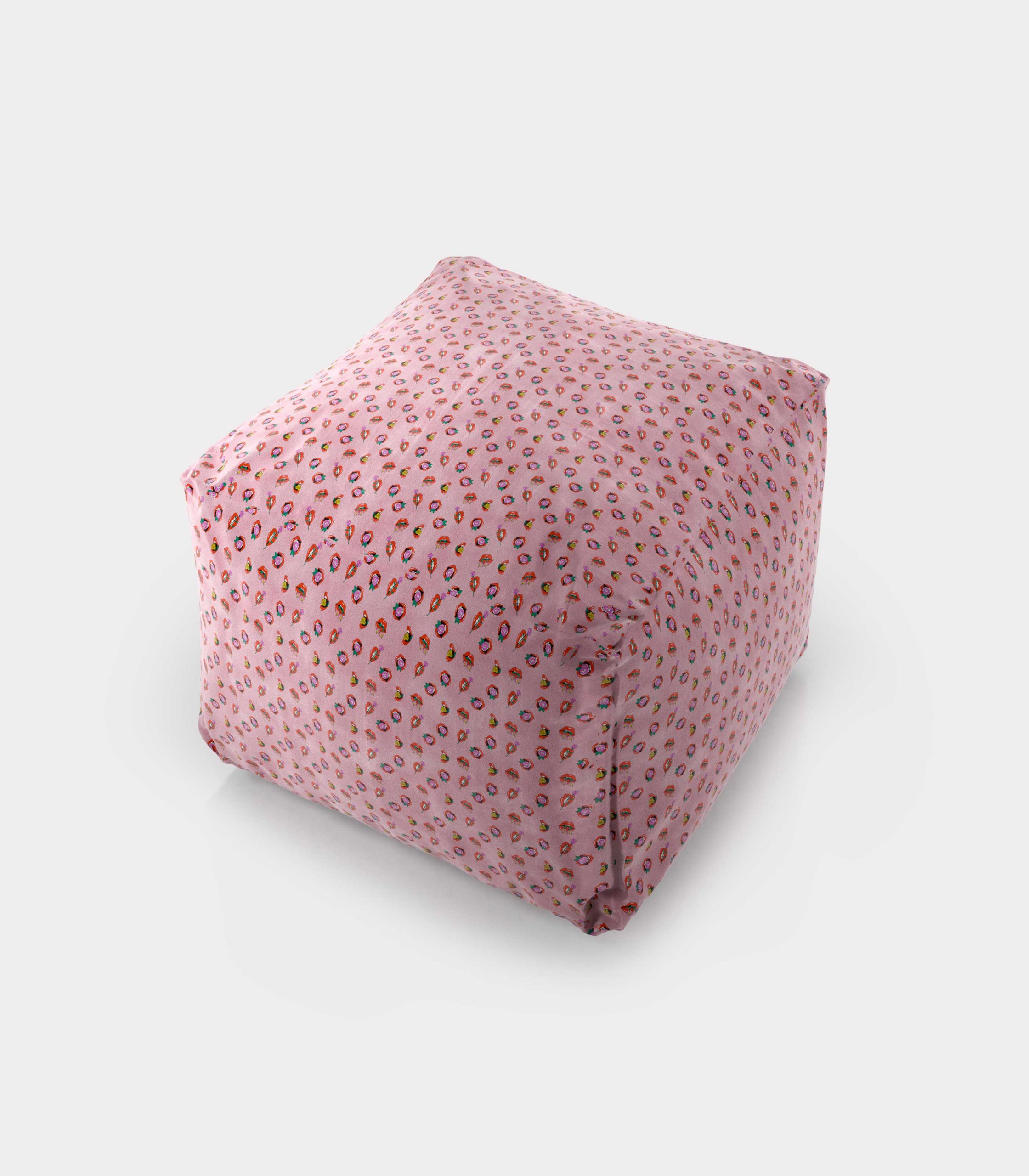 "Polystyrene Pouf with ""Mouths and Flowers"" pattern loopo milan design A"