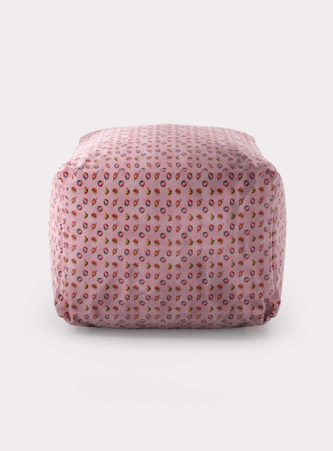 "Polystyrene Pouf with ""Mouths and Flowers"" pattern loopo milan design F"