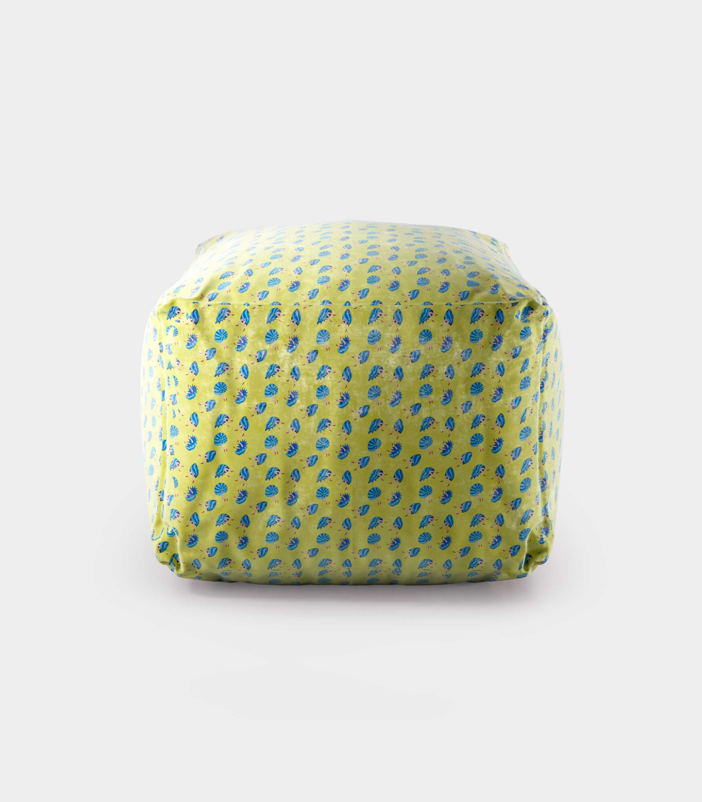 """Polystyrene Pouf with """"Shells and Legs"""" pattern loopo milan design F"""