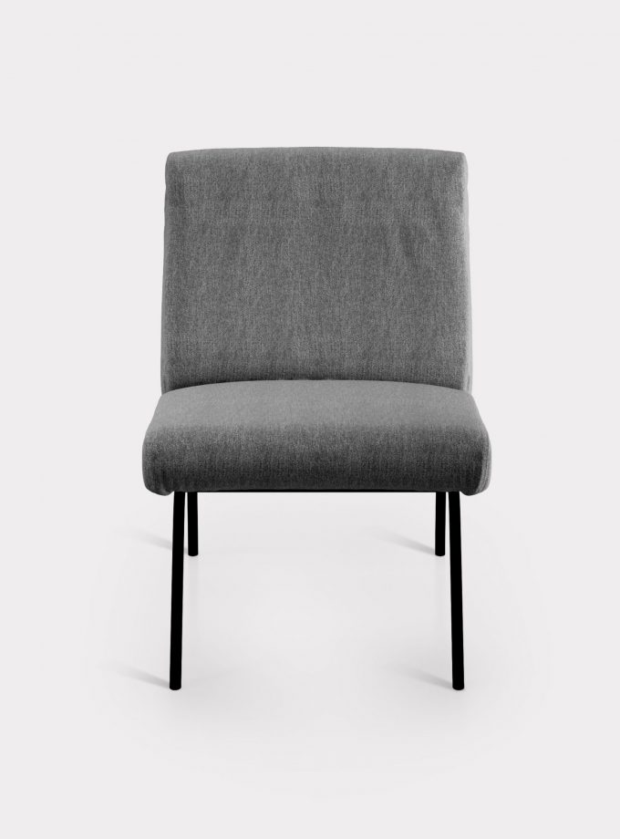Grey armchair in bouclé fabric loopo milan design F