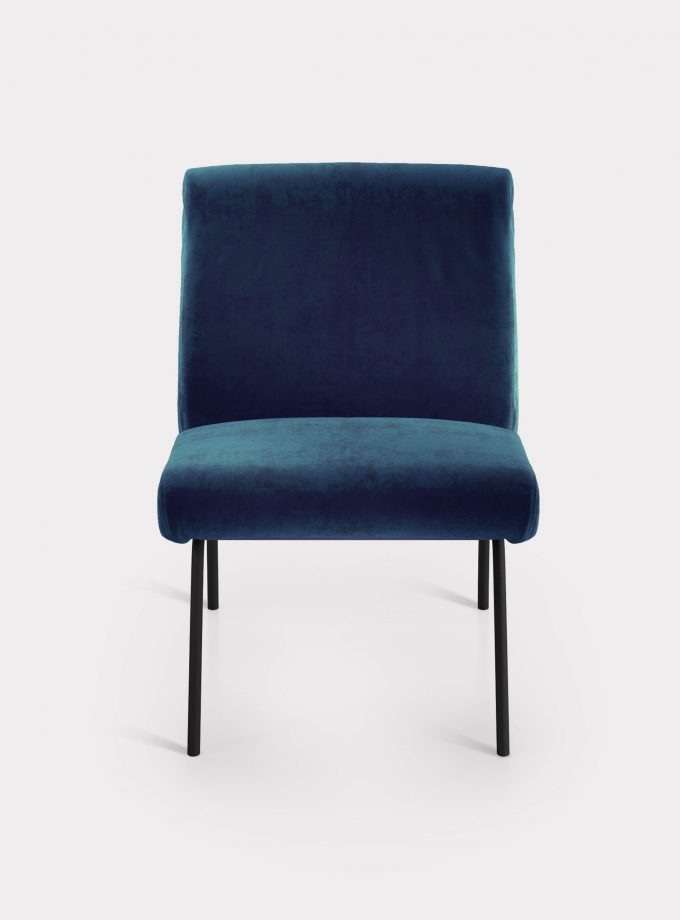Blue armchair in velvet fabric loopo milan design F