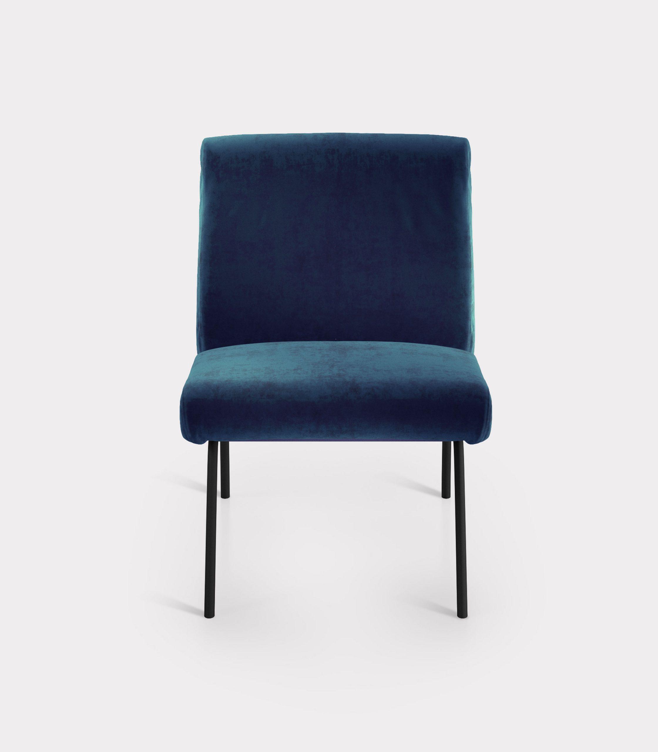 Blue armchair in velvet fabric loopo milan design F