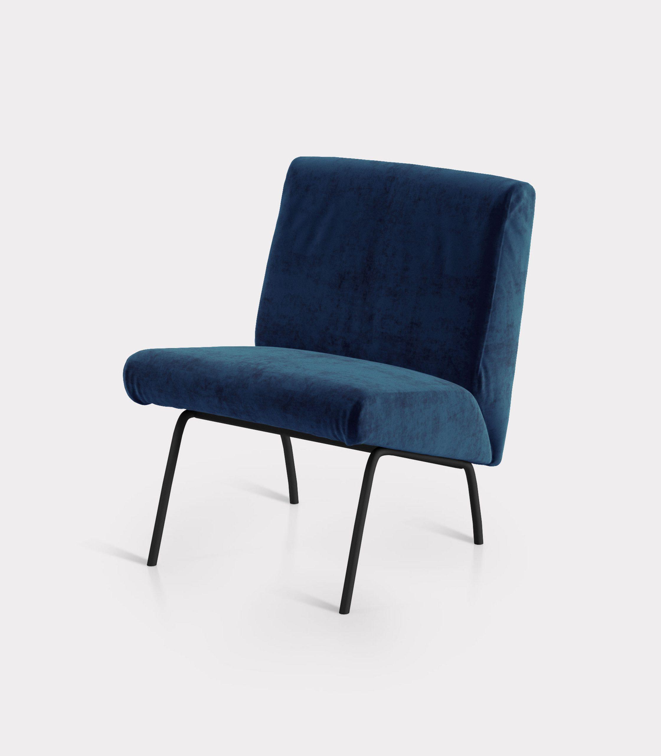Blue armchair in velvet fabric loopo milan design FS