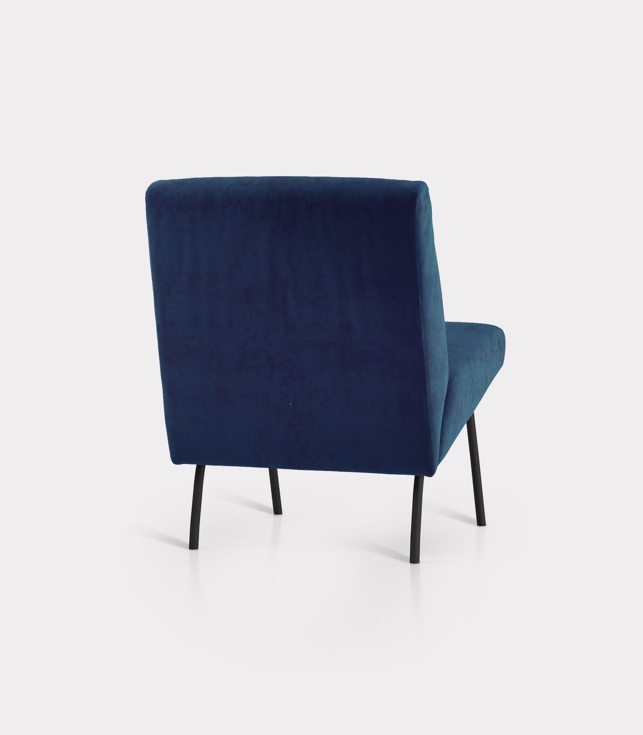 Blue armchair in velvet fabric loopo milan design R