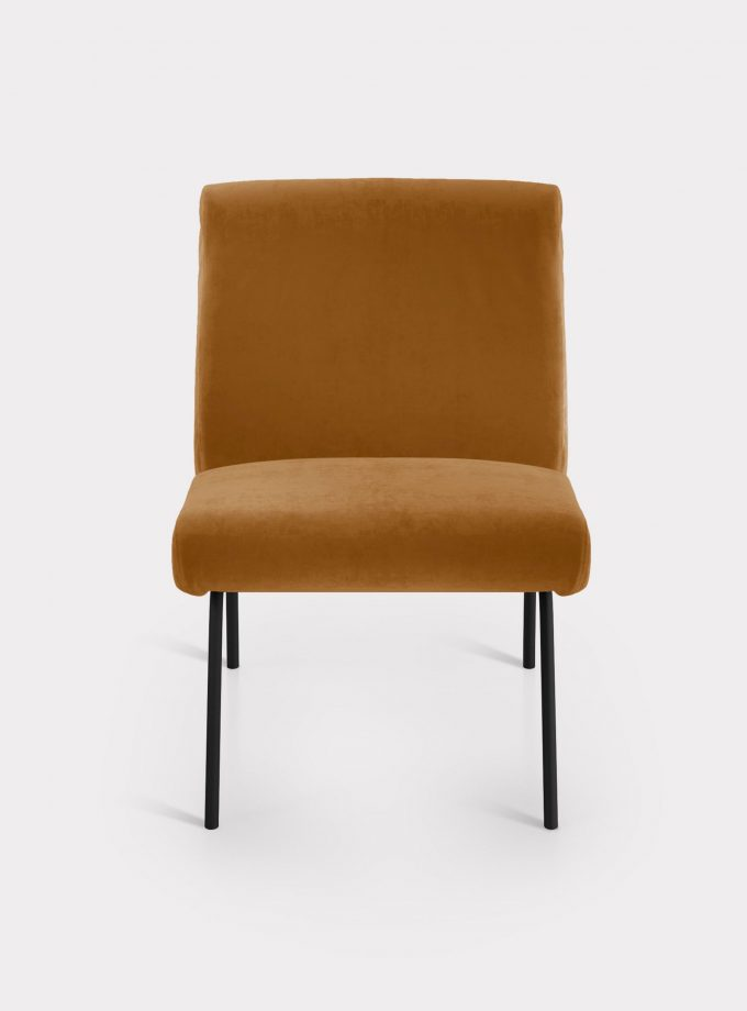 Caramel armchair in velvet fabric loopo milan design F