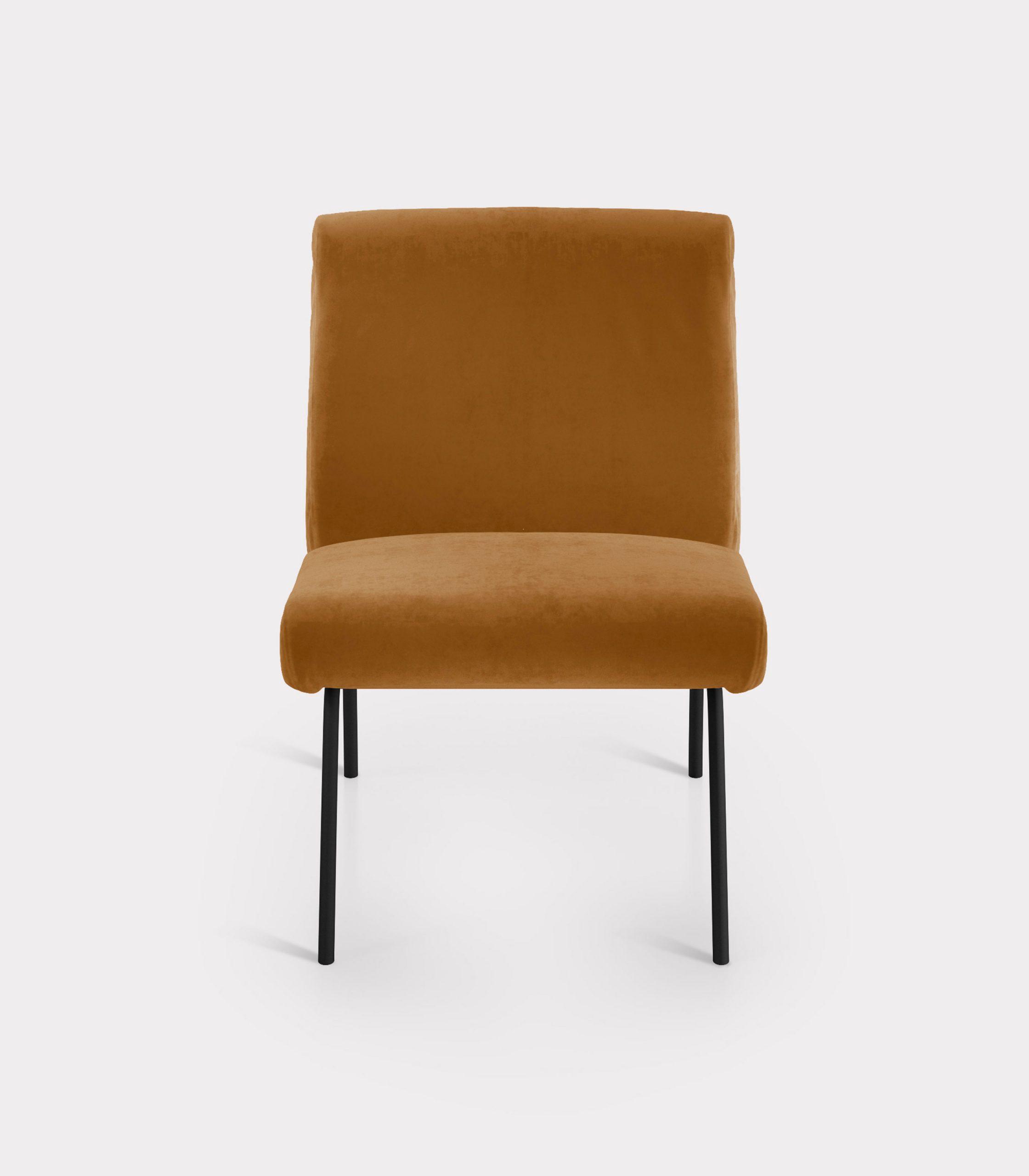 Caramel armchair in velvet fabric loopo milan design F