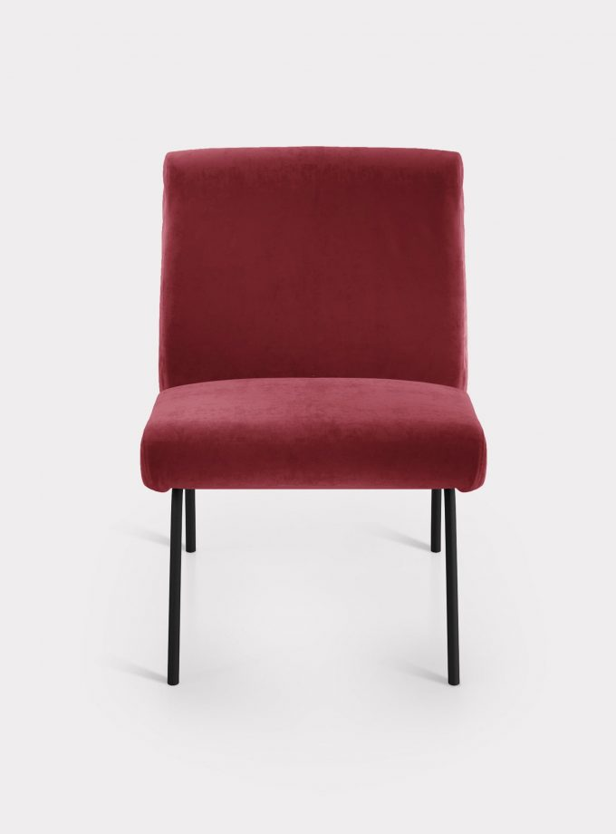 Red armchair in velvet fabric loopo milan design F