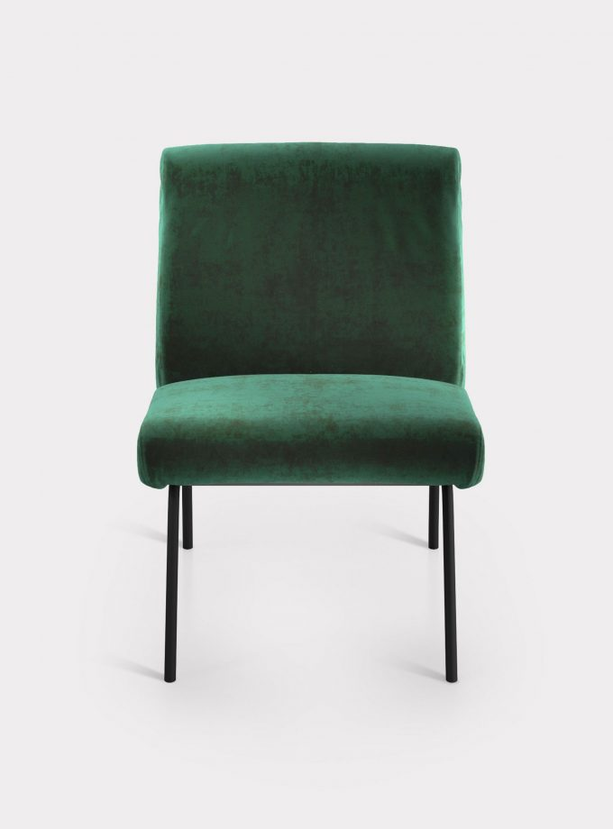 Green armchair in velvet fabric loopo milan design F