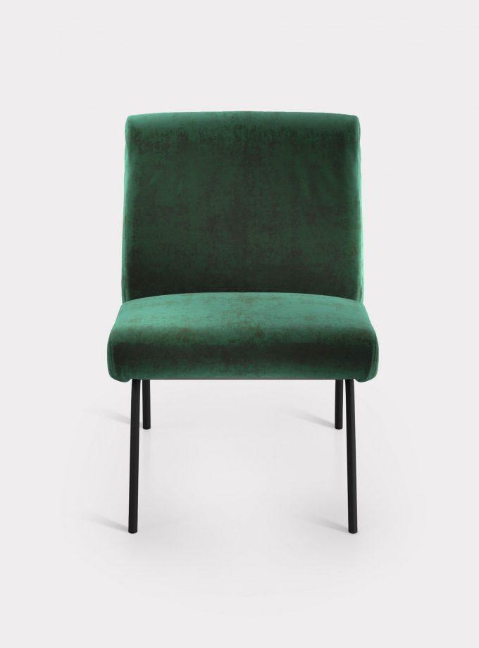Green armchair in velvet fabric loopo milan design F