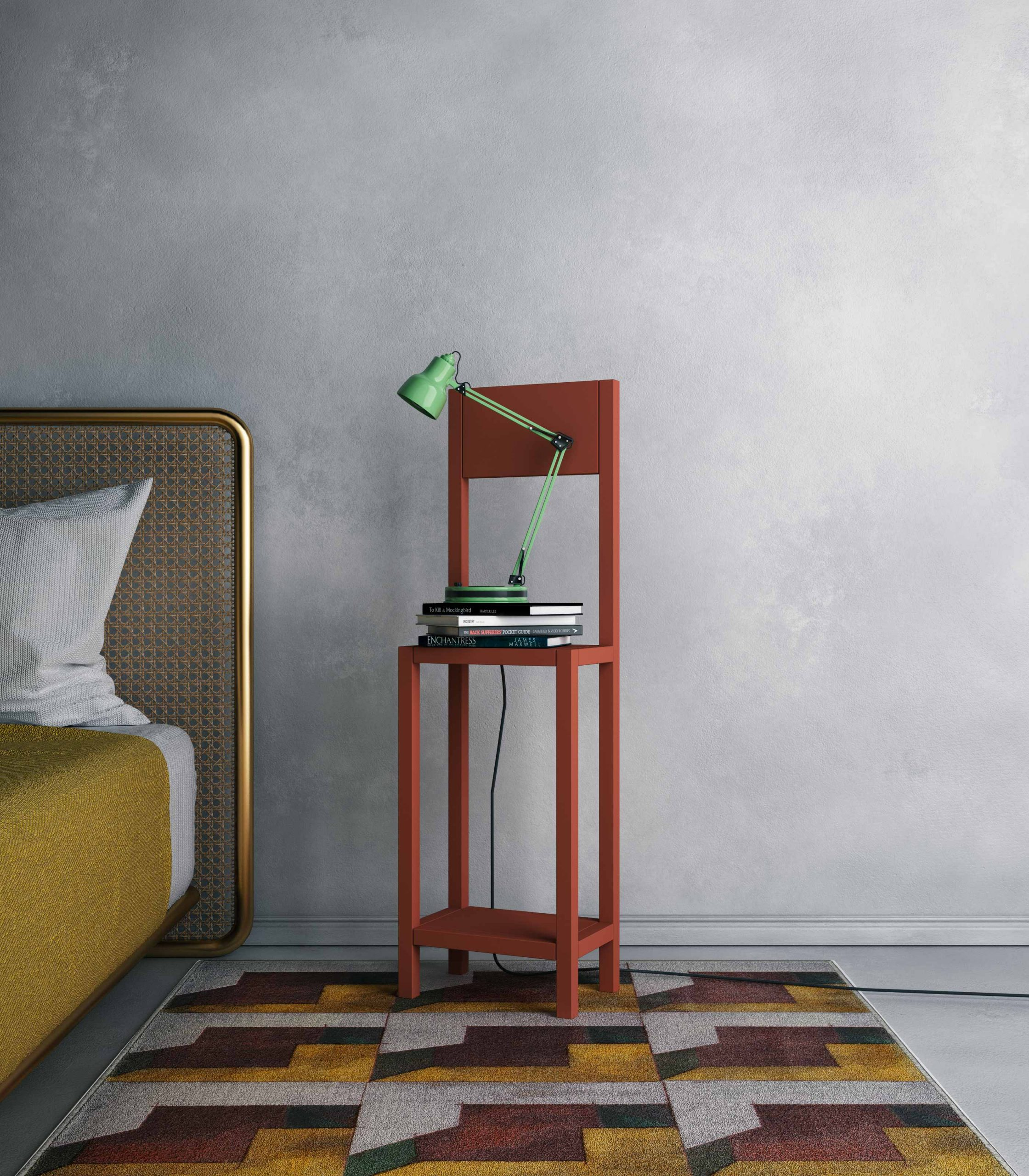 Brick red chair for an unexpected guest loopo milano design staged