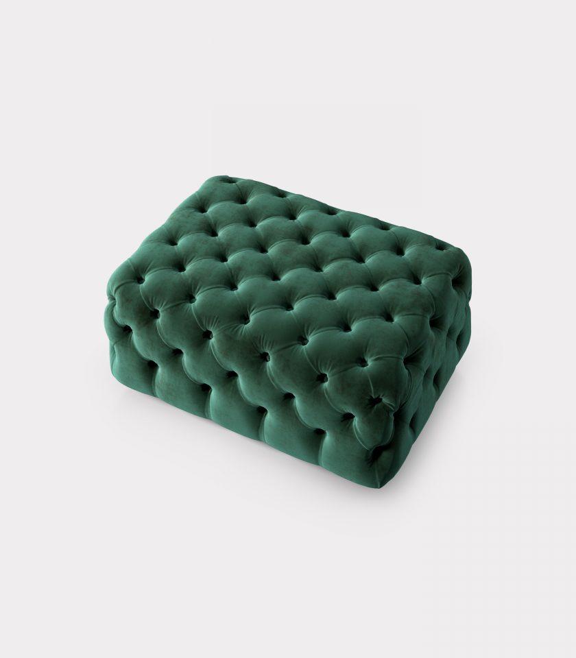 Green velvet pouf capitonné loopo milan design A